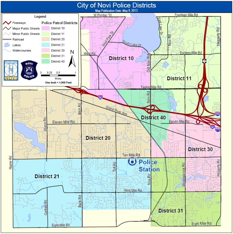 City of Novi Michigan Police Districts Map