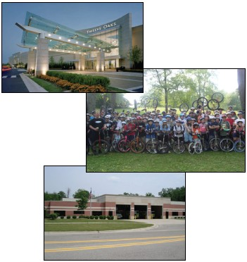 Collage of images - Twelve Oaks entrance, group of bikers, firestation