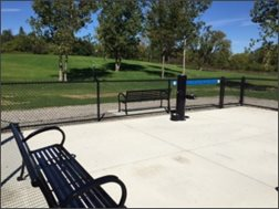 Dog Park Seating and Water Fountain area