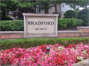 Bradford of Novi Entrance sign