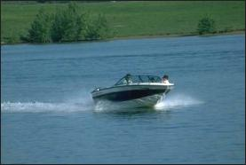 Motor boat on lake