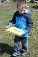 Boy participating in the Eggstravaganza