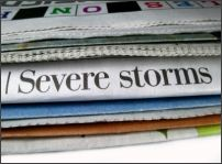 Severe Storms headline on newspaper